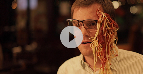 link to video of man with spaghetti on face